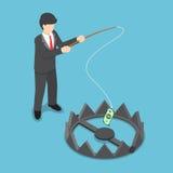 L'homme d'affaires isométrique a volé l'argent du piège d'ours par la canne à pêche Photographie stock