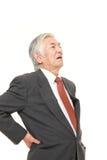 L'homme d'affaires japonais supérieur souffre du lumbago Photo libre de droits