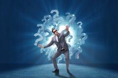 L'homme d'affaires les yeux bandés dans le concept incertainty Image libre de droits
