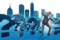 L'homme d'affaires les yeux bandés dans le concept incertainty Images stock