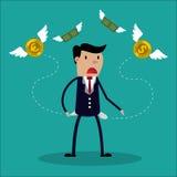 L'homme d'affaires n'a aucun argent - un homme à la recherche d'argent illustration de vecteur