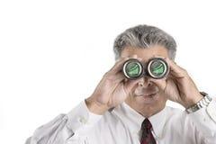 L'homme d'affaires observant ses finances se développent Photos libres de droits