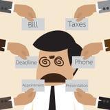 L'homme d'affaires obtiennent confondent avec beaucoup pensent pour faire illustration libre de droits