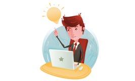L'homme d'affaires pensent sur l'ordinateur Photos libres de droits