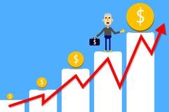 L'homme d'affaires portent le brifcase et le récompensent sur la barre analogique Image stock