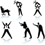 L'homme d'affaires pose des silhouettes Images libres de droits