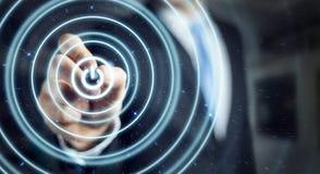 L'homme d'affaires poussant 3D rendent le bouton de puissance avec un stylo Image libre de droits