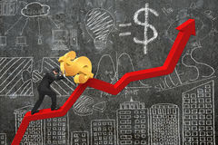 L'homme d'affaires poussant le dollar au point de départ de diagramme de tendance avec font Photographie stock