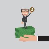 L'homme d'affaires que Raise Hand Up avec une pièce de monnaie se réfèrent soit un concept de millionnaire Photo libre de droits