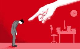 L'homme d'affaires qui est dirigé par la main énorme - actionnez le harcèlement c illustration libre de droits