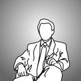 L'homme d'affaires s'asseyant avec le cigare sur sa main gauche dirigent l'illustrat Images libres de droits