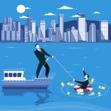L'homme d'affaires se noie et demande l'aide de son associé Illustration de vecteur de concept de faillite commerciale illustration de vecteur