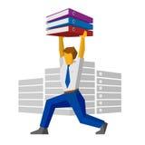 L'homme d'affaires soulève des reliures avec des papiers comme le haltérophile illustration libre de droits