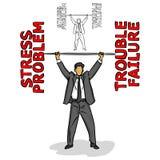 L'homme d'affaires soulevant un barbell des mots négatifs rouges dirigent I Illustration de Vecteur