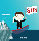 L'homme d'affaires sur couler le bateau se heurtent iceberg Photos stock