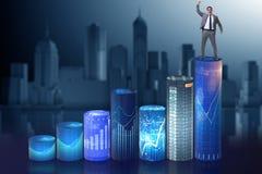 L'homme d'affaires sur les histogrammes dans le concept d'affaires Photo stock