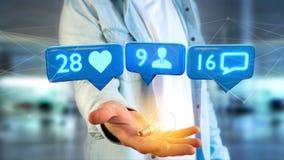 L'homme d'affaires tenant a aiment, de disciples et de message avis dessus Image stock