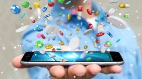 L'homme d'affaires tenant et touchant les pilules de flottement 3D de médecine les déchirent Images libres de droits