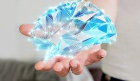 L'homme d'affaires tenant l'esprit humain numérique de rayon X dans sa main 3D ren Photographie stock