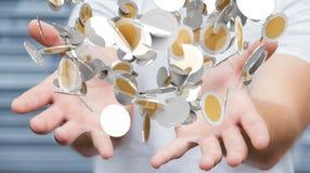L'homme d'affaires tenant la devise de vol invente dans son renderi de la main 3D Photo libre de droits