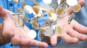 L'homme d'affaires tenant la devise de vol invente dans son renderi de la main 3D Images stock