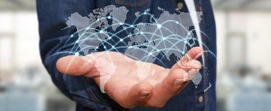 L'homme d'affaires tenant le réseau global et les échanges de données '3D les déchirent Images libres de droits