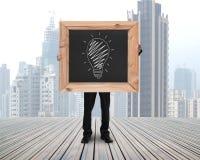 L'homme d'affaires tenant le tableau avec des idées tirées par la main égalent l'argent Photos libres de droits