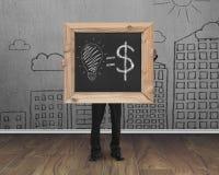 L'homme d'affaires tenant le tableau noir avec des idées tirées par la main égalent l'argent Photos libres de droits