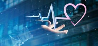 L'homme d'affaires tenant un 3d rendant le coeur médical courbent Image stock
