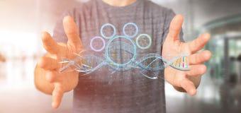 L'homme d'affaires tenant un 3d rendent l'ADN Photographie stock libre de droits