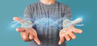 L'homme d'affaires tenant un 3d rendent l'ADN Image stock