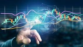 L'homme d'affaires tenant un 3d rendent les informations sur les données de commerce de bourse des valeurs  Photographie stock