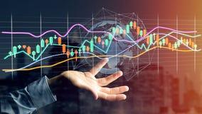 L'homme d'affaires tenant un 3d rendent les informations sur les données de commerce de bourse des valeurs  Images stock