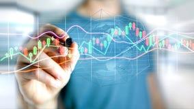 L'homme d'affaires tenant un 3d rendent les informations sur les données de commerce de bourse des valeurs  Image stock