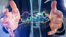 L'homme d'affaires tenant un 3d rendent les informations sur les données de commerce de bourse des valeurs  Photo stock