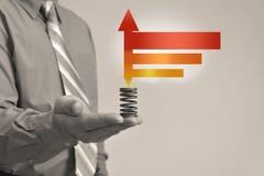 L'homme d'affaires tient le b&w 2 de signe Images libres de droits