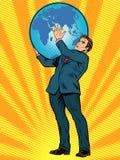 L'homme d'affaires Titan Atlas tient la terre Image libre de droits