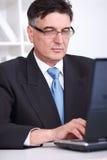 L'homme d'affaires travaille sur l'ordinateur portatif Image libre de droits