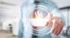 L'homme d'affaires utilisant l'application à passer commande à la maison a fait à nourriture 3D en ligne illustration libre de droits
