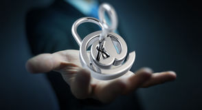 L'homme d'affaires utilisant 3D a rendu le cadenas numérique pour fixer son inte Images stock