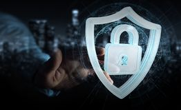 L'homme d'affaires utilisant des données modernes protègent le rendu de l'antivirus 3D Image libre de droits