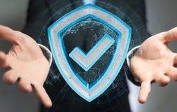L'homme d'affaires utilisant des données modernes protègent le rendu de l'antivirus 3D Photographie stock