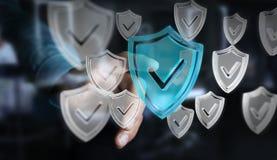 L'homme d'affaires utilisant des données modernes protègent le rendu de l'antivirus 3D Photo libre de droits