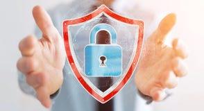 L'homme d'affaires utilisant des données modernes protègent le rendu de l'antivirus 3D Photos stock