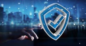 L'homme d'affaires utilisant des données modernes protègent le rendu de l'antivirus 3D Photographie stock libre de droits