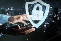 L'homme d'affaires utilisant des données modernes protègent le rendu de l'antivirus 3D Photos libres de droits