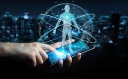 L'homme d'affaires utilisant l'interface numérique 3D de balayage de corps humain de rayon X ren Photographie stock