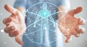 L'homme d'affaires utilisant l'interface numérique 3D de balayage de corps humain de rayon X ren Photographie stock libre de droits