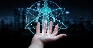 L'homme d'affaires utilisant l'interface numérique 3D de balayage de corps humain de rayon X ren Photo libre de droits