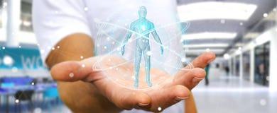 L'homme d'affaires utilisant l'interface numérique 3D de balayage de corps humain de rayon X ren Photo stock